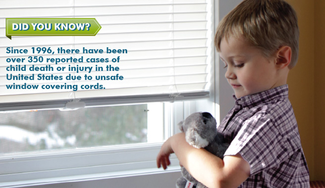 Did you know? Since 1996, there have been over 350 reported cases of child death or injury in the United States due to unsafe window cords.
