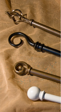 decorative drapery hardware pole sets with assorted finial shapes