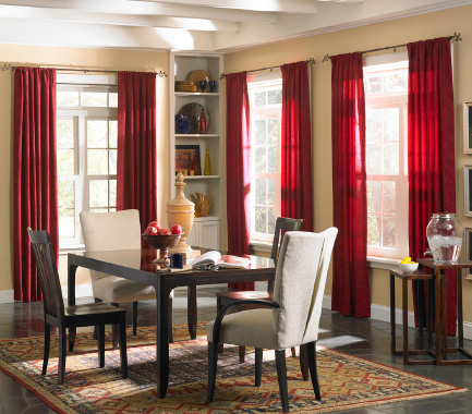 decorative drapery hardware room scene with